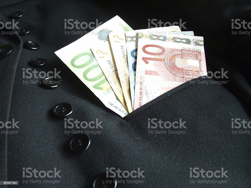 Euro in pocket stock photo