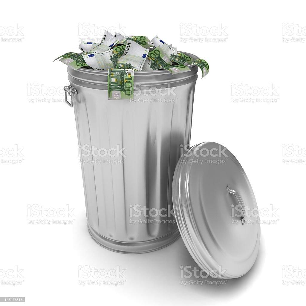Euro in Trash royalty-free stock photo