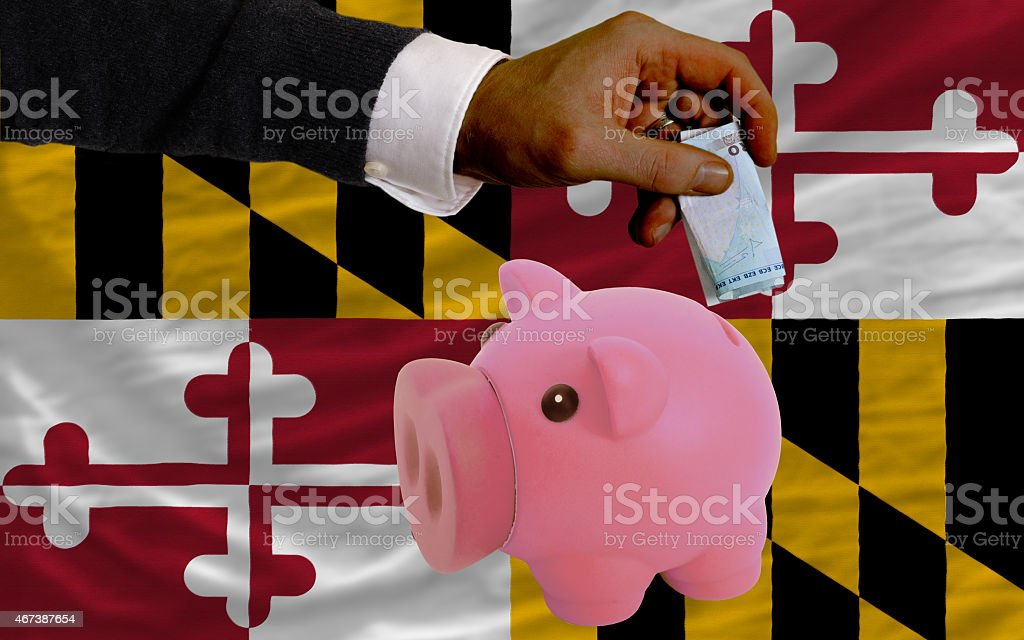 euro into piggy rich bank and flag of maryland stock photo