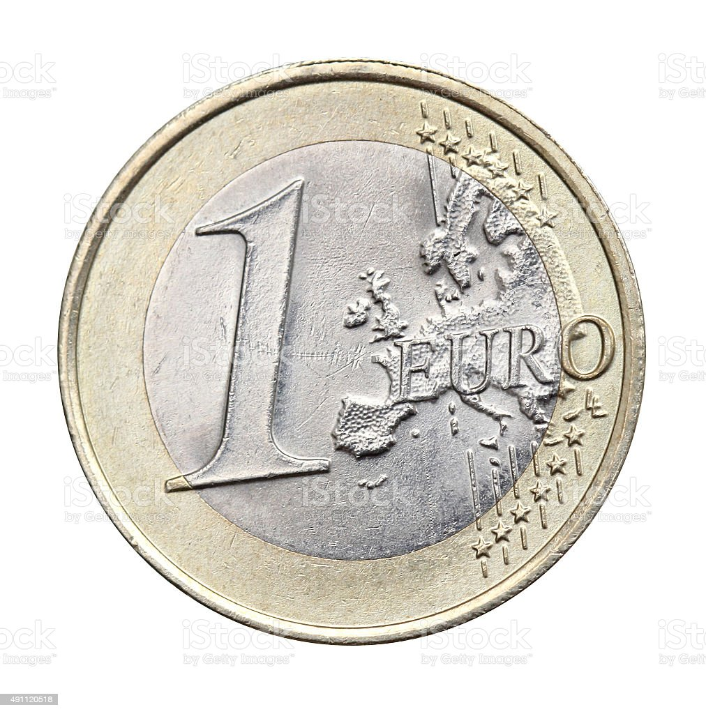 1 euro isolated stock photo