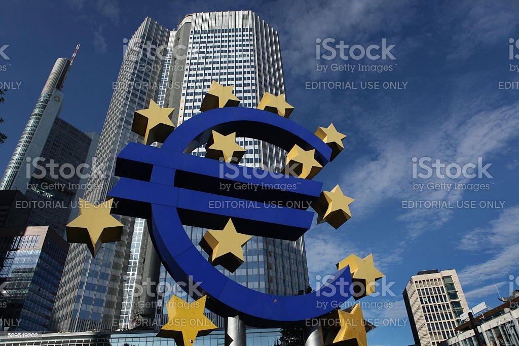 Euro logo in Frankfurt am Main, Germany. stock photo