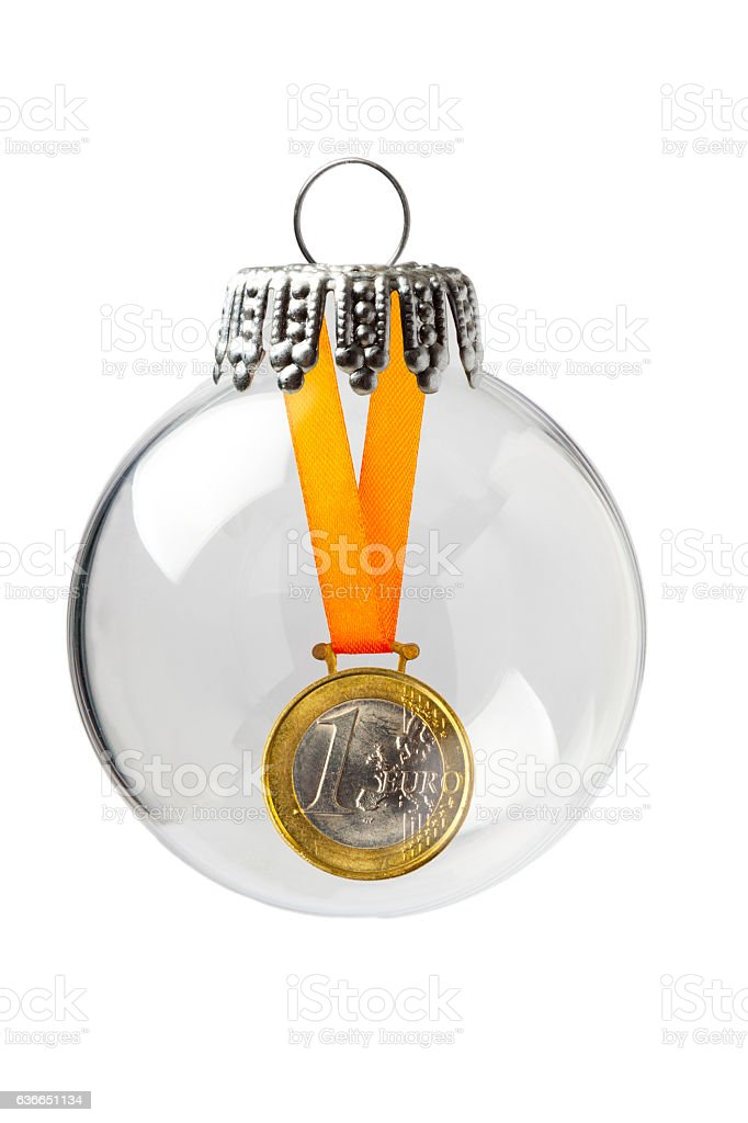 Euro Medal in a Christmas Ornament stock photo