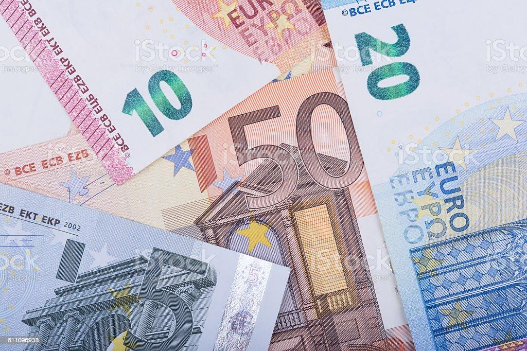 Euro money background. Euro banknotes. European Union Currency stock photo