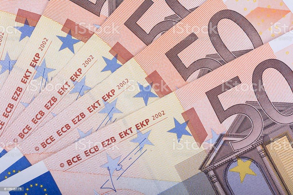 Euro money background. Fifty euro banknotes. European Union Currency stock photo