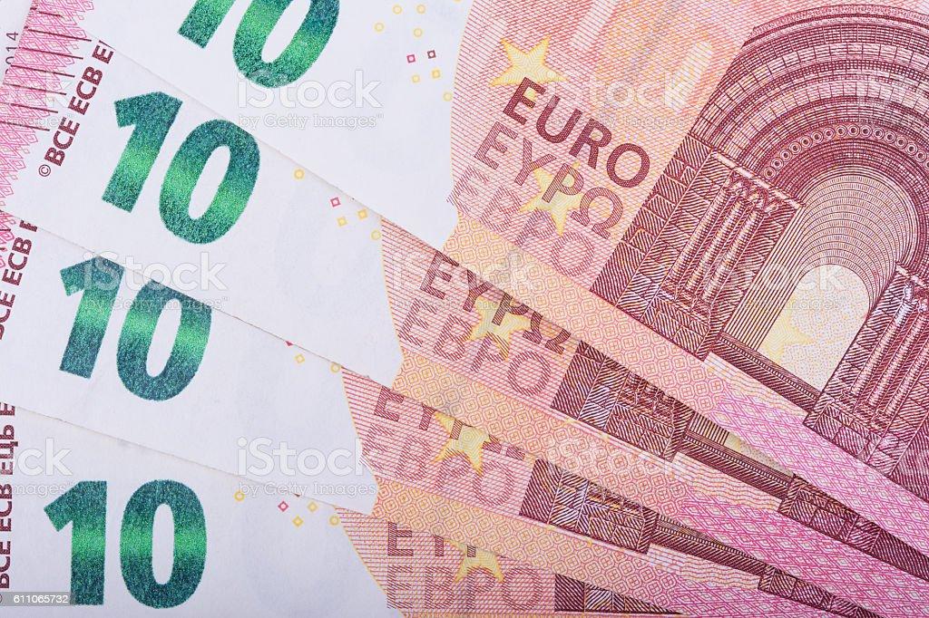 Euro money background. Ten euro banknotes. European Union Currency stock photo