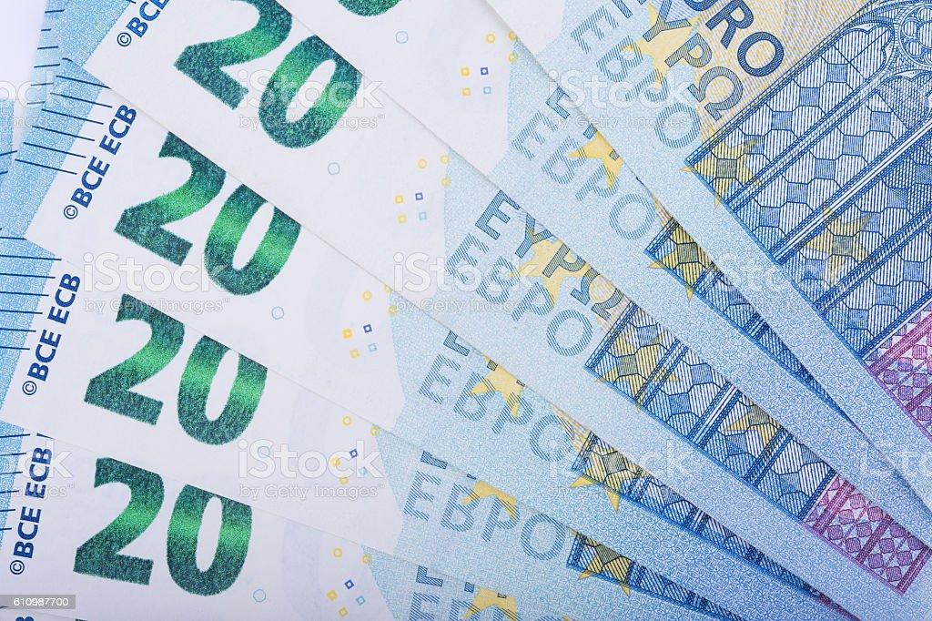 Euro money background. Twenty euro banknotes. European Union Currency stock photo