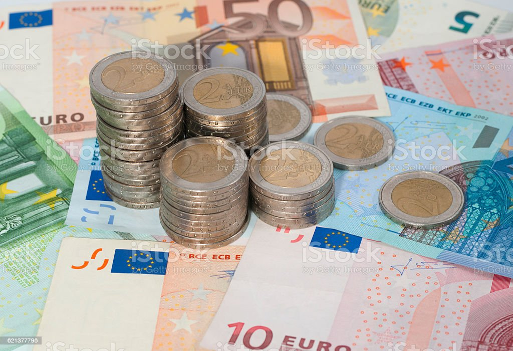 Euro money banknotes and coins stock photo