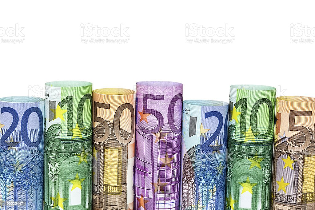 Arrotolato soldi banconote Euro foto stock royalty-free