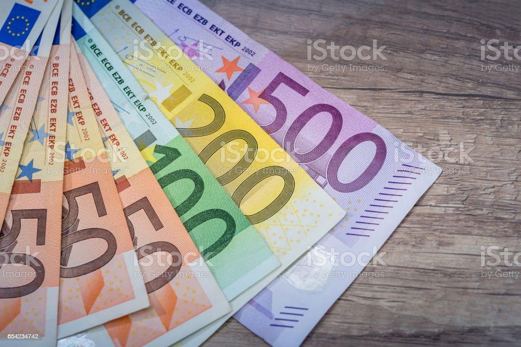 Euro money: closeup of 500 200 100 50 20 banknotes. stock photo