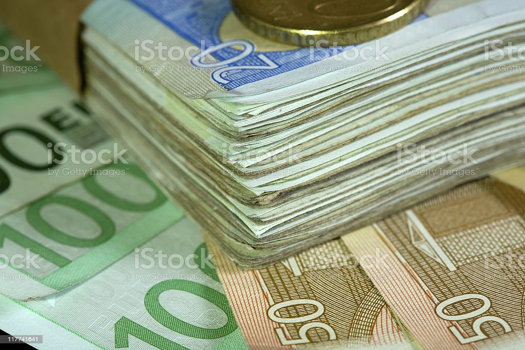 Euro money, coins and bills royalty-free stock photo