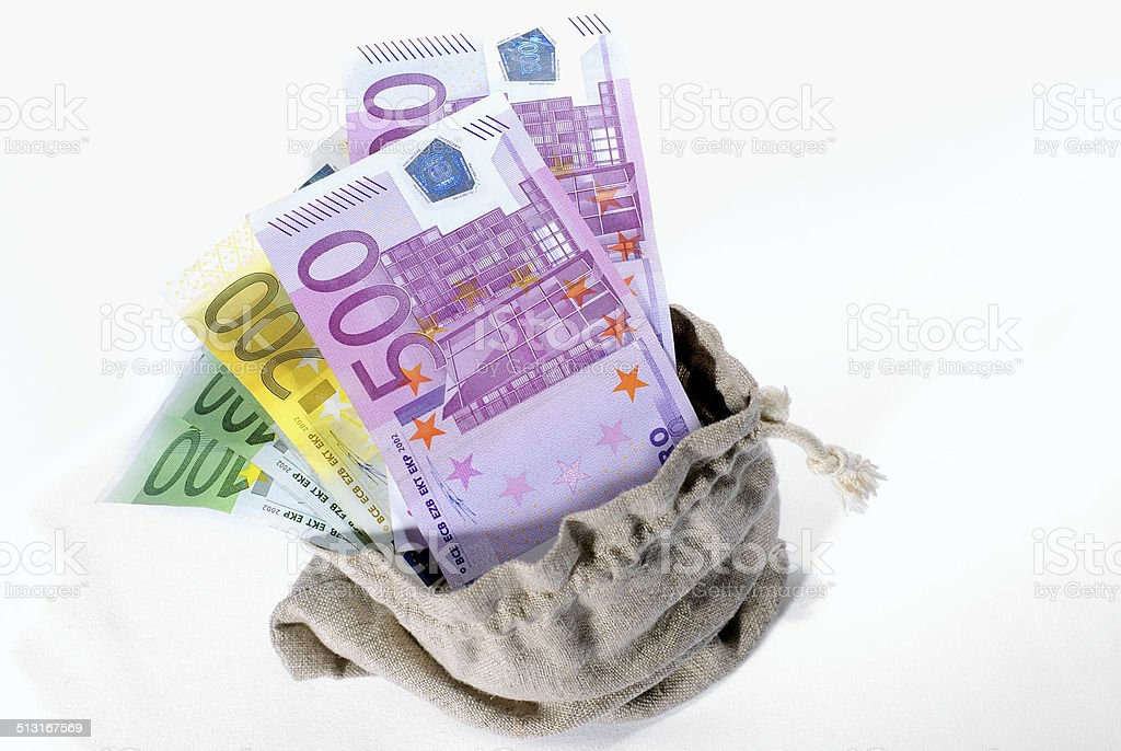 Euro Money in the bag stock photo