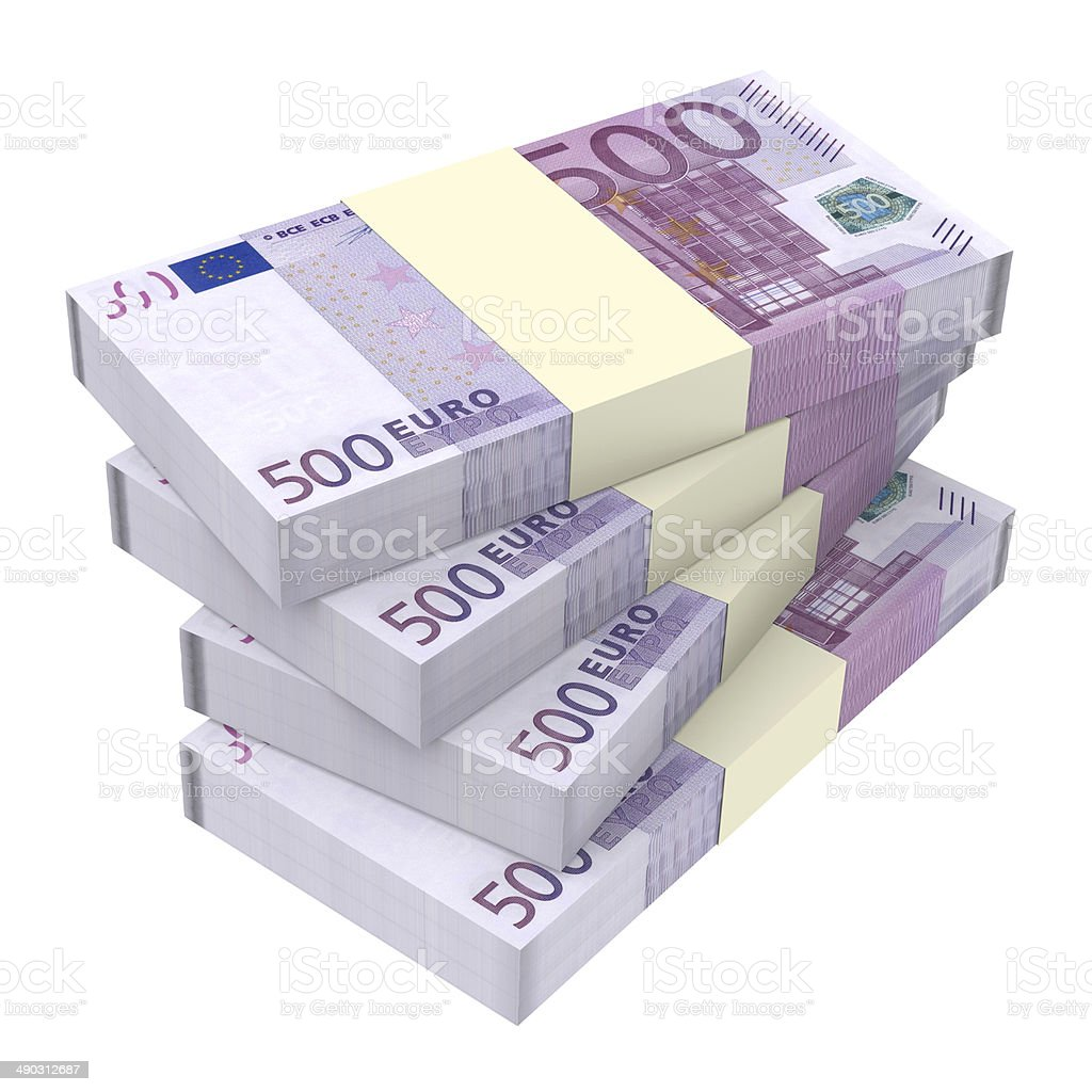 Euro money isolated on white background. stock photo