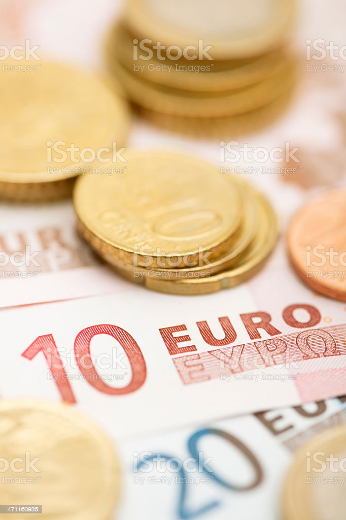 Euro money macro in warm light stock photo