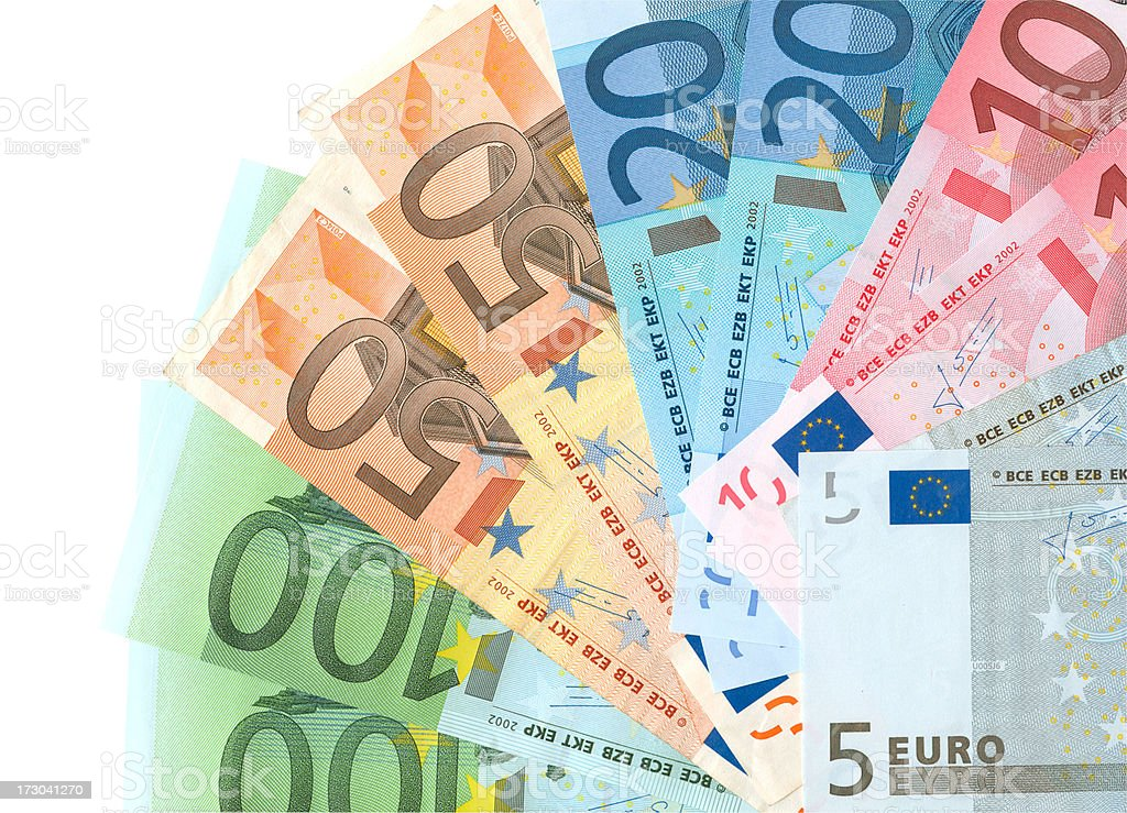 Euro Money Notes Isolated (clipping path) stock photo