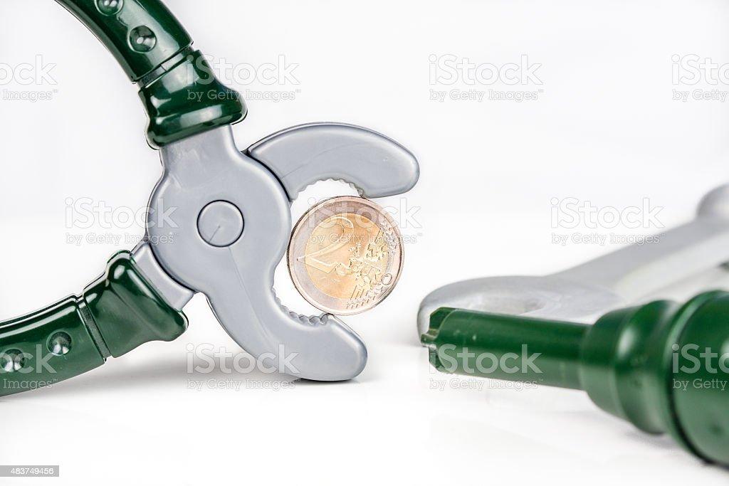 euro needs to be repaired stock photo