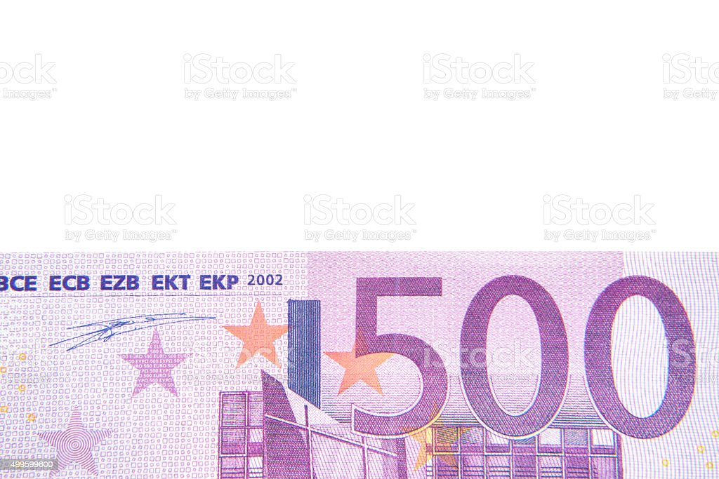 500 euro note detail background stock photo