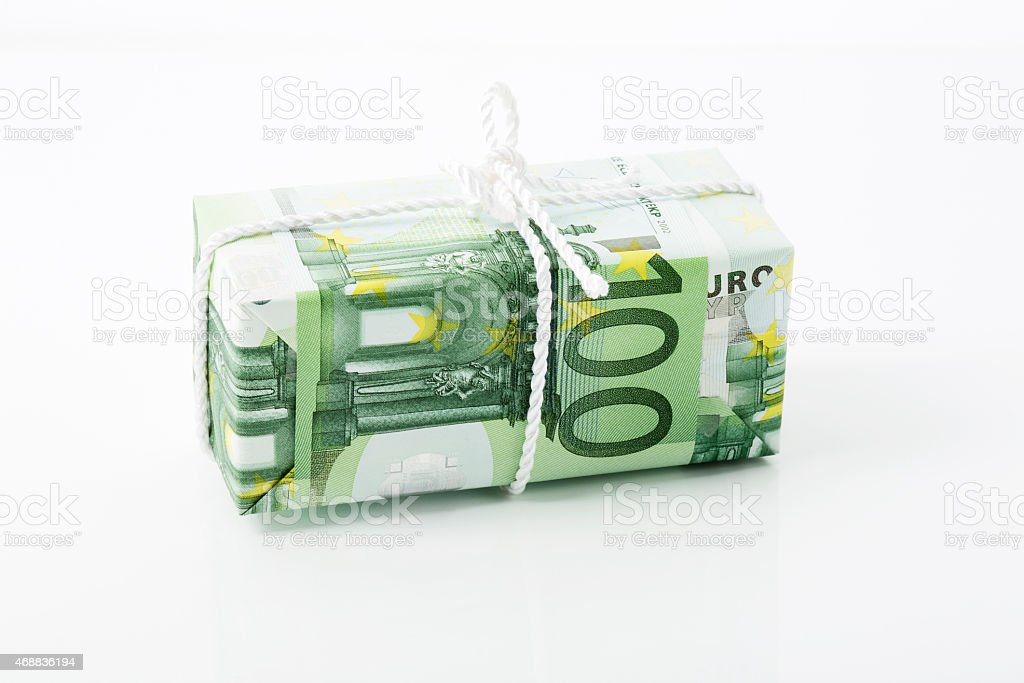 100 Euro note, savings package stock photo