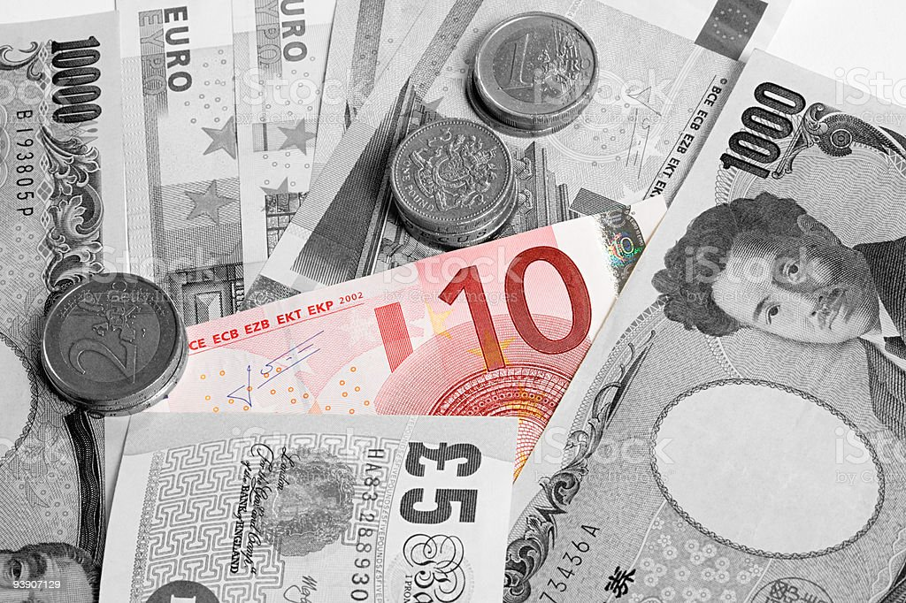 Euro note standing out against other currency stock photo