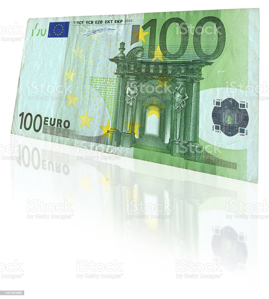 euro note with reflection stock photo