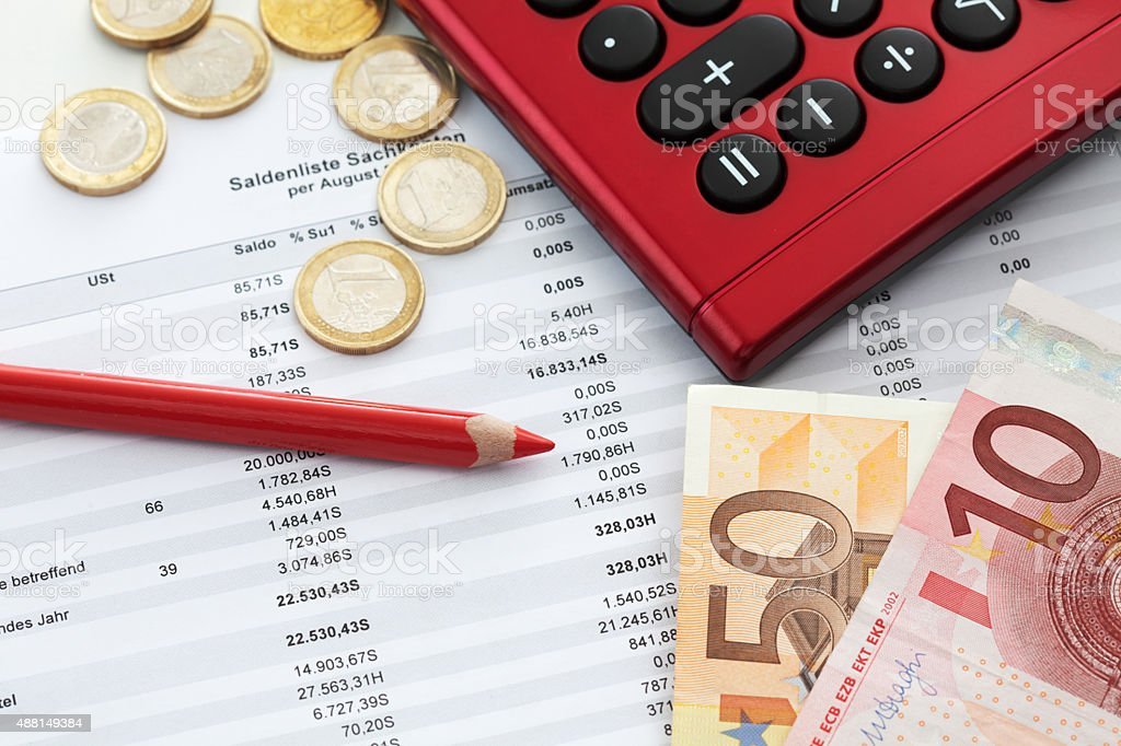 Euro notes and accounting document close up stock photo