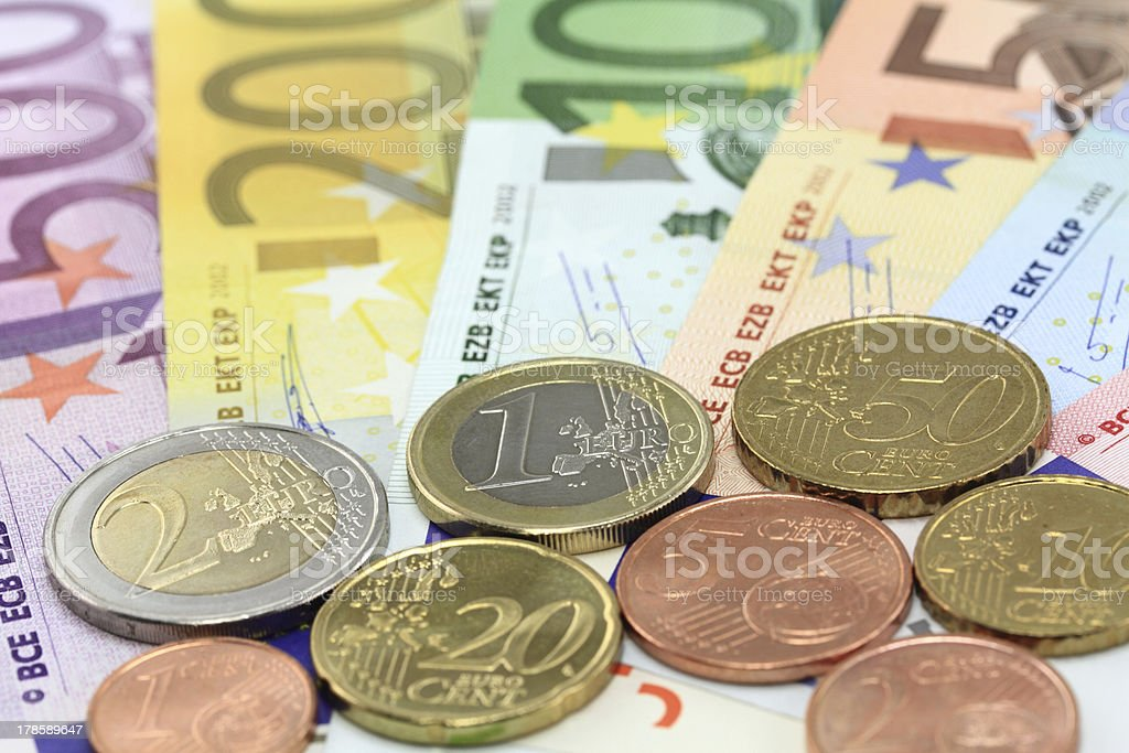 Euro notes and coins royalty-free stock photo