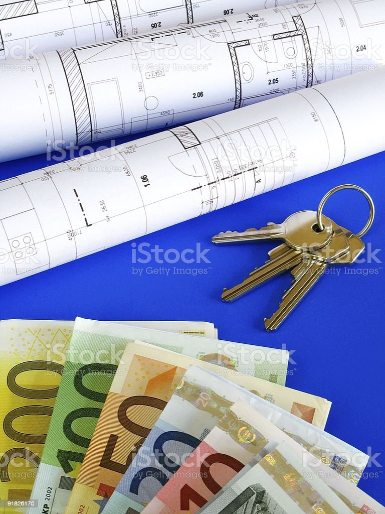 Euro notes and plans royalty-free stock photo