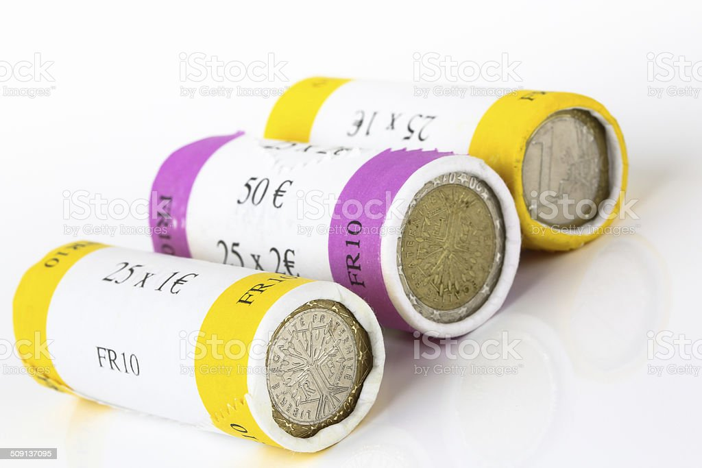 Euro notes and roll coins royalty-free stock photo