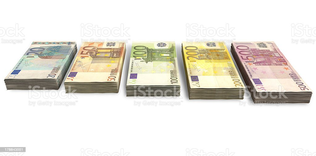 Euro Notes Collection Front royalty-free stock photo