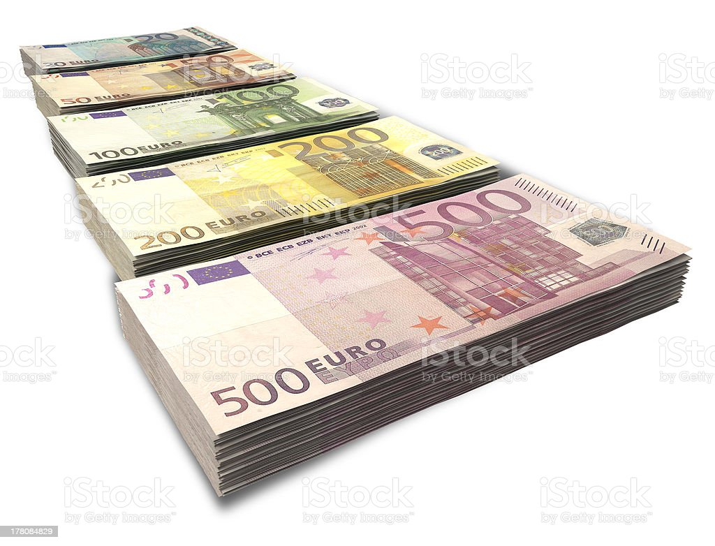 Euro Notes Collection Perspective royalty-free stock photo