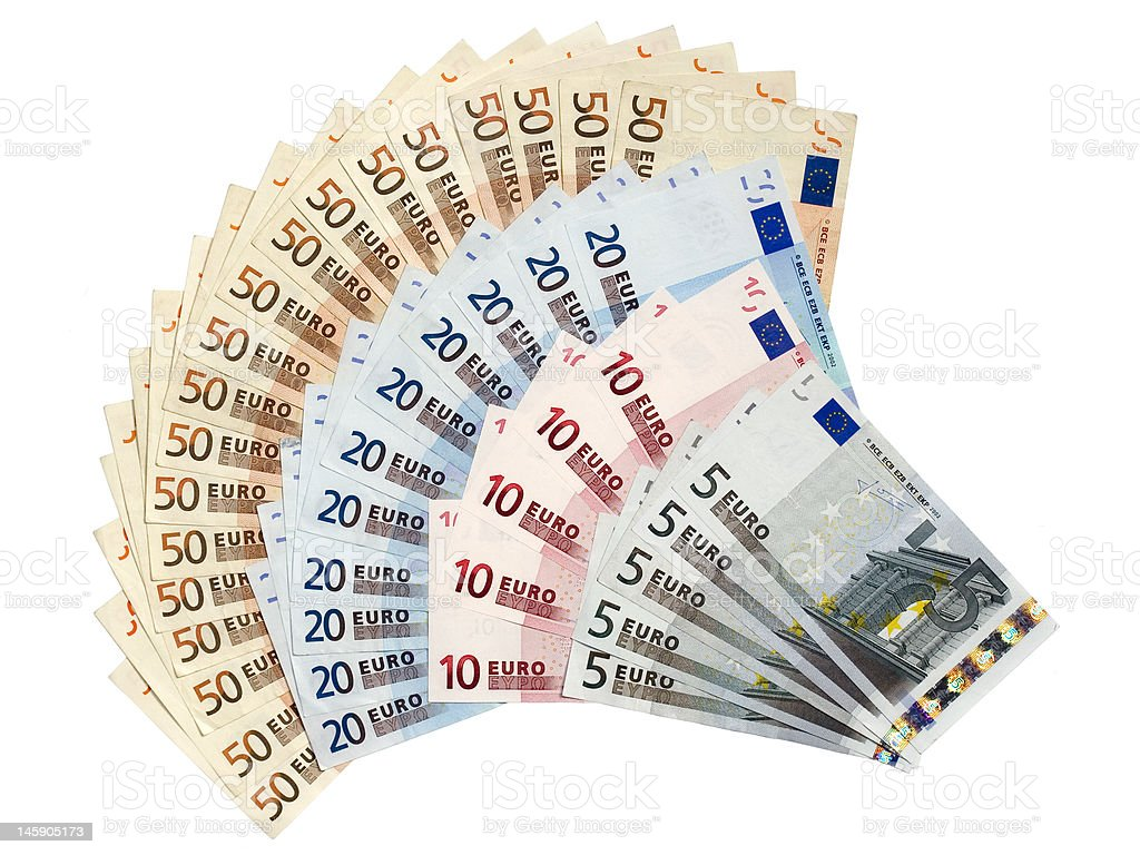 Euro Notes in Fan Shape stock photo