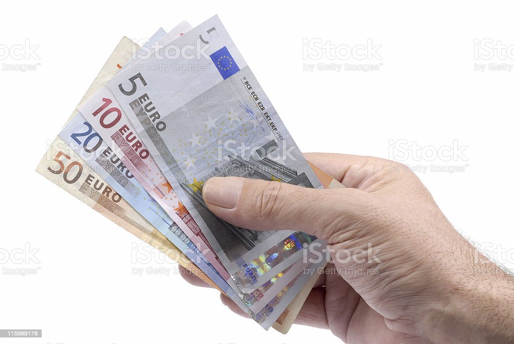Euro notes or bills in male hand royalty-free stock photo