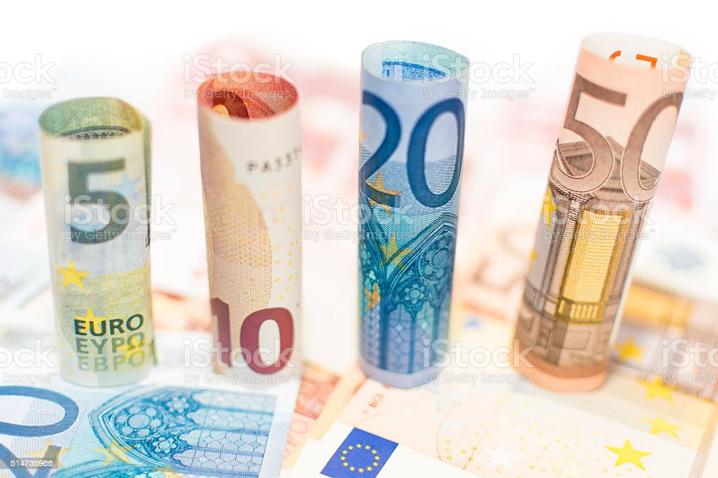 Euro Notes Rolled stock photo