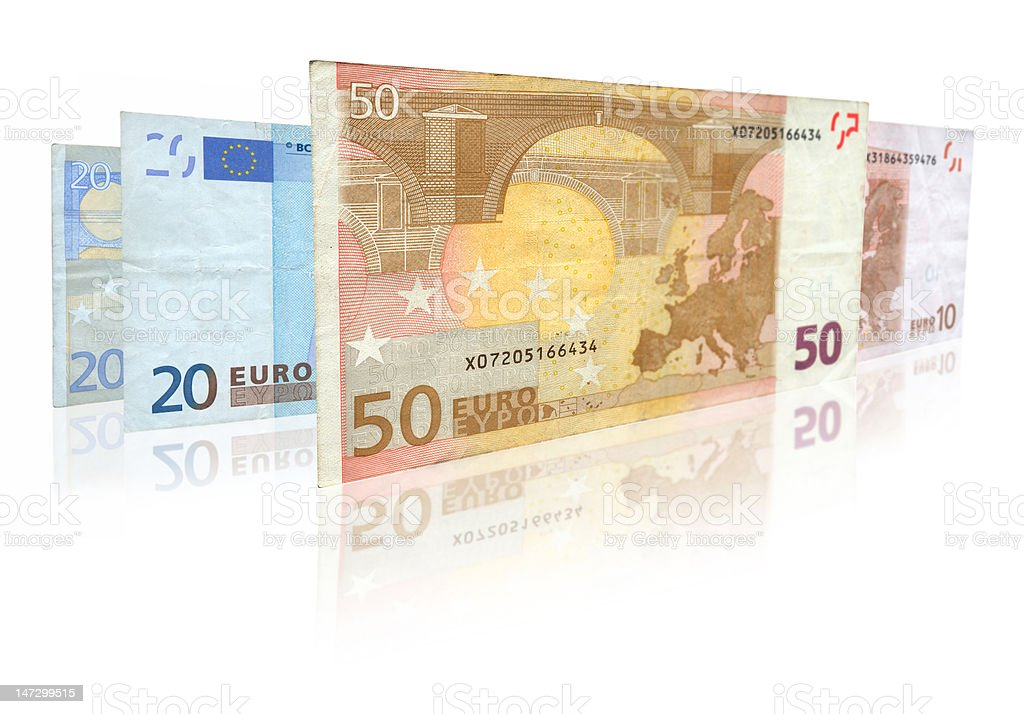 euro notes with reflection stock photo