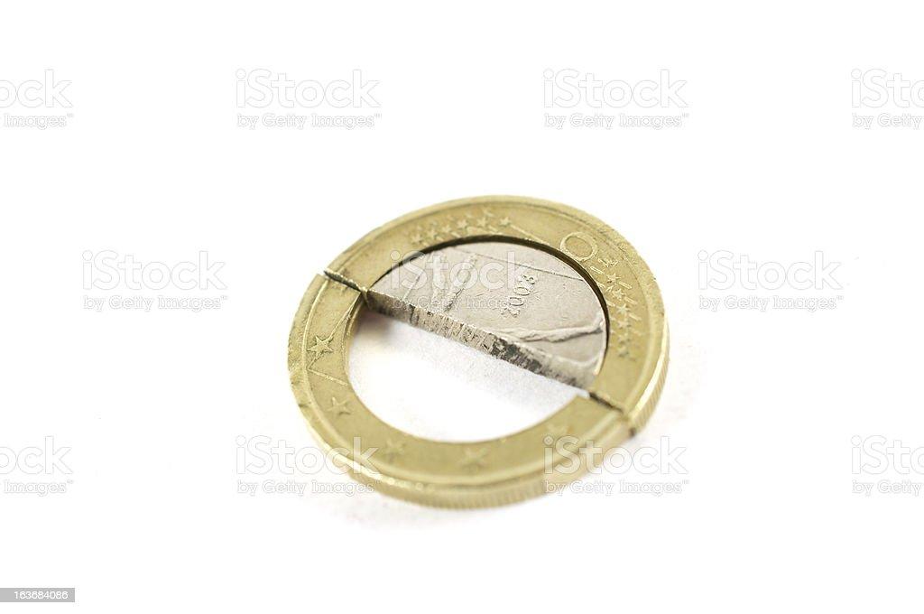 euro of 2003 damaged royalty-free stock photo