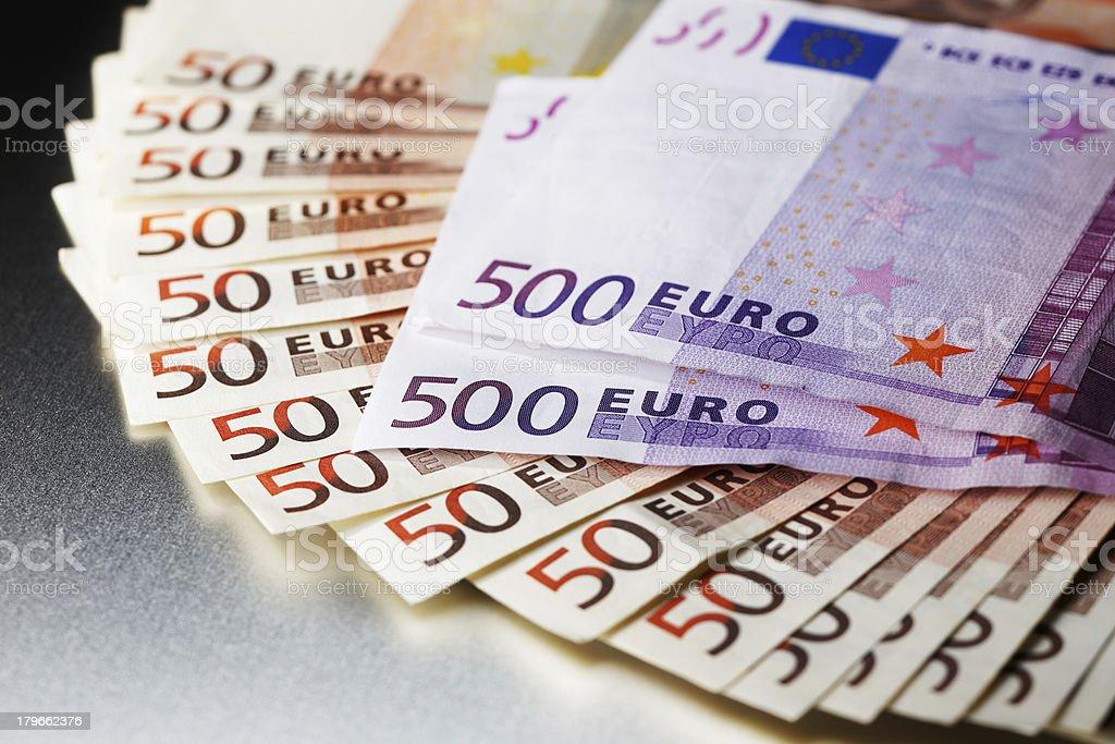3000 Euro on a shiny metal board royalty-free stock photo