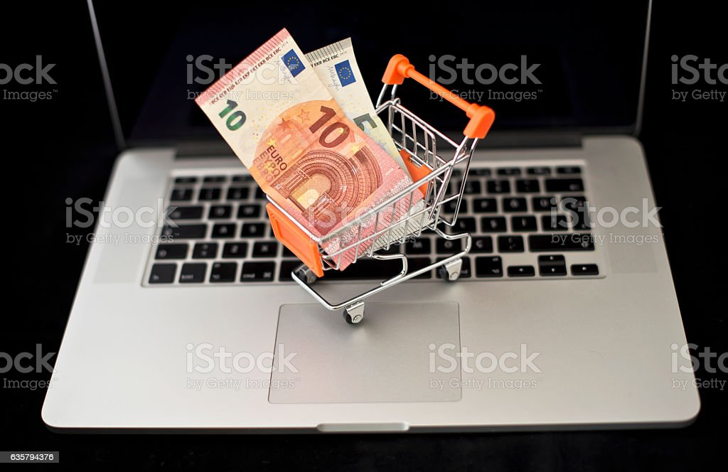 Euro on Laptop stock photo