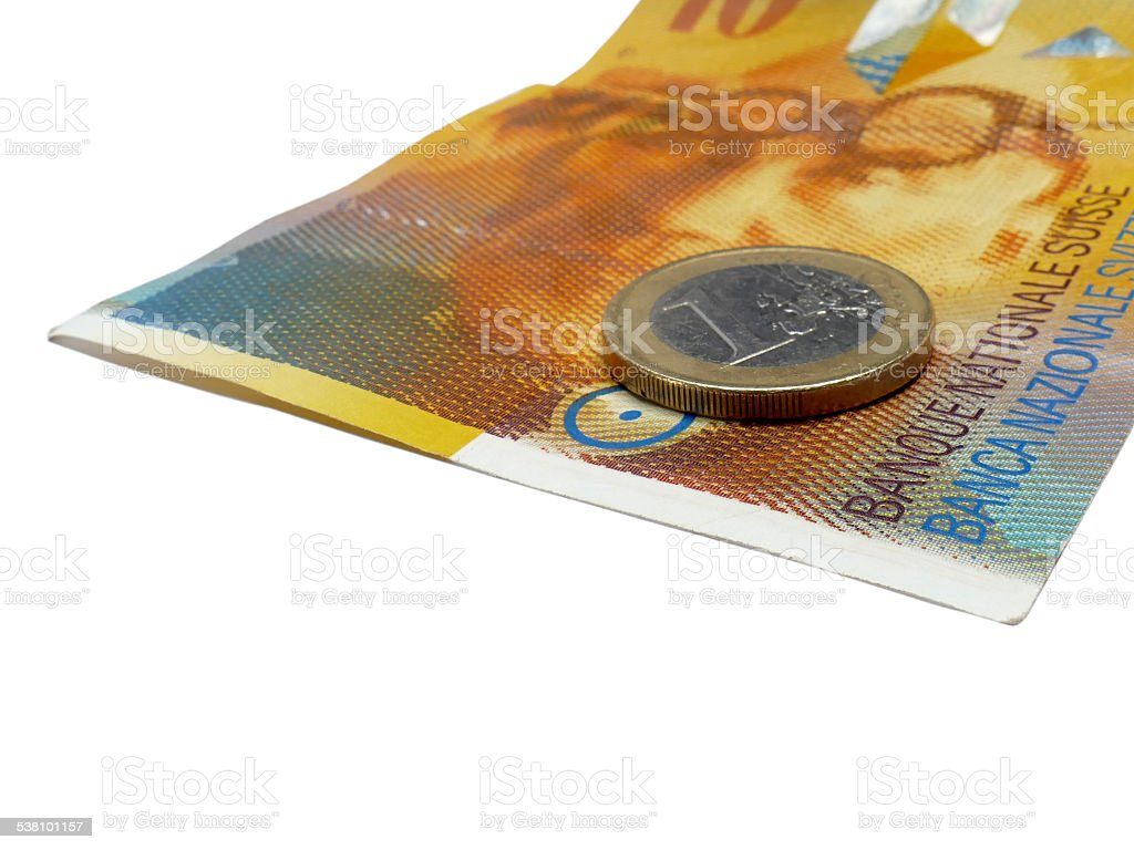 Euro on Suisse 10 Francs note isolated on white stock photo