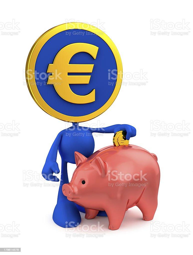 Euro Piggy Bank Account royalty-free stock photo