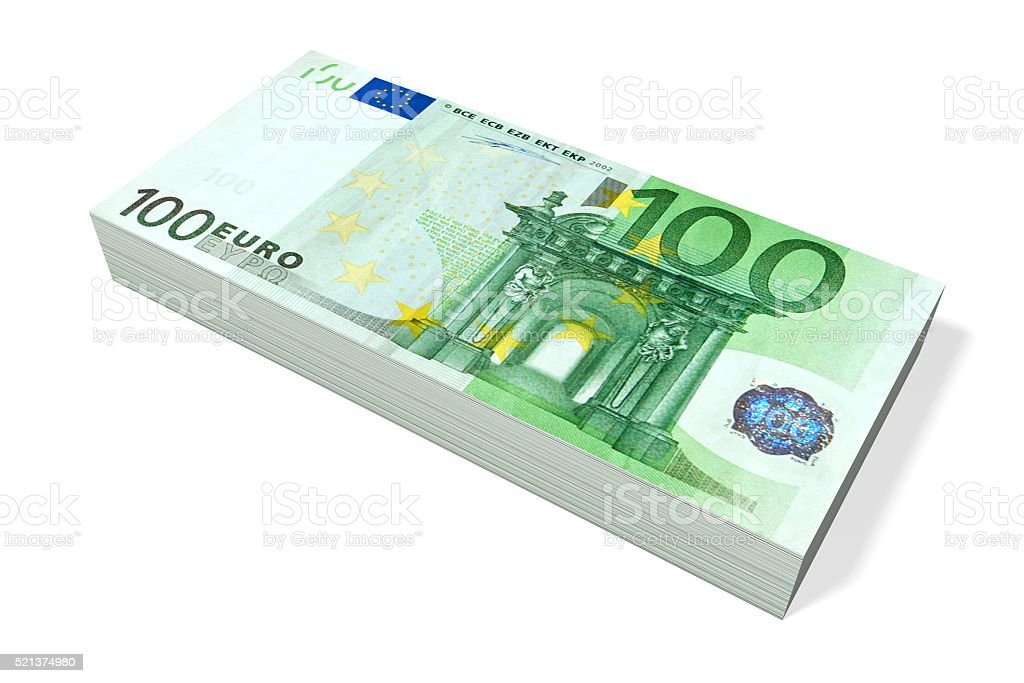 100 Euro - pile of money stock photo