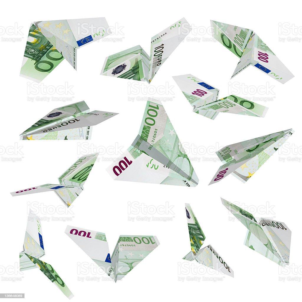 Euro plane flying royalty-free stock photo