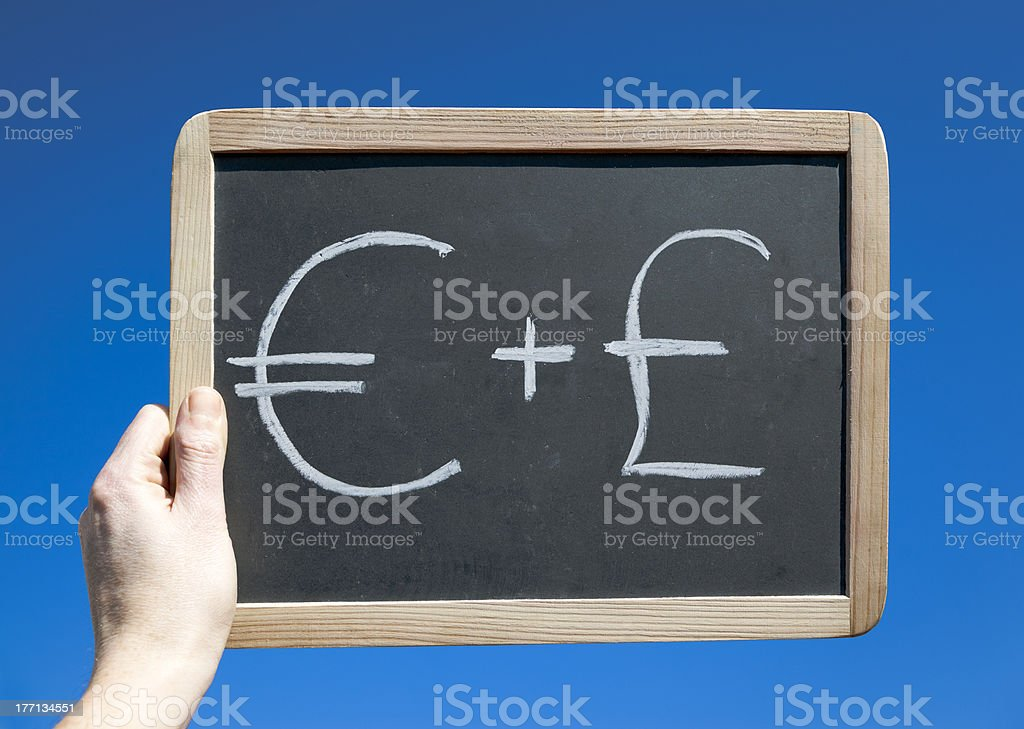 Euro Plus Sterling Symbol. Business Concept stock photo