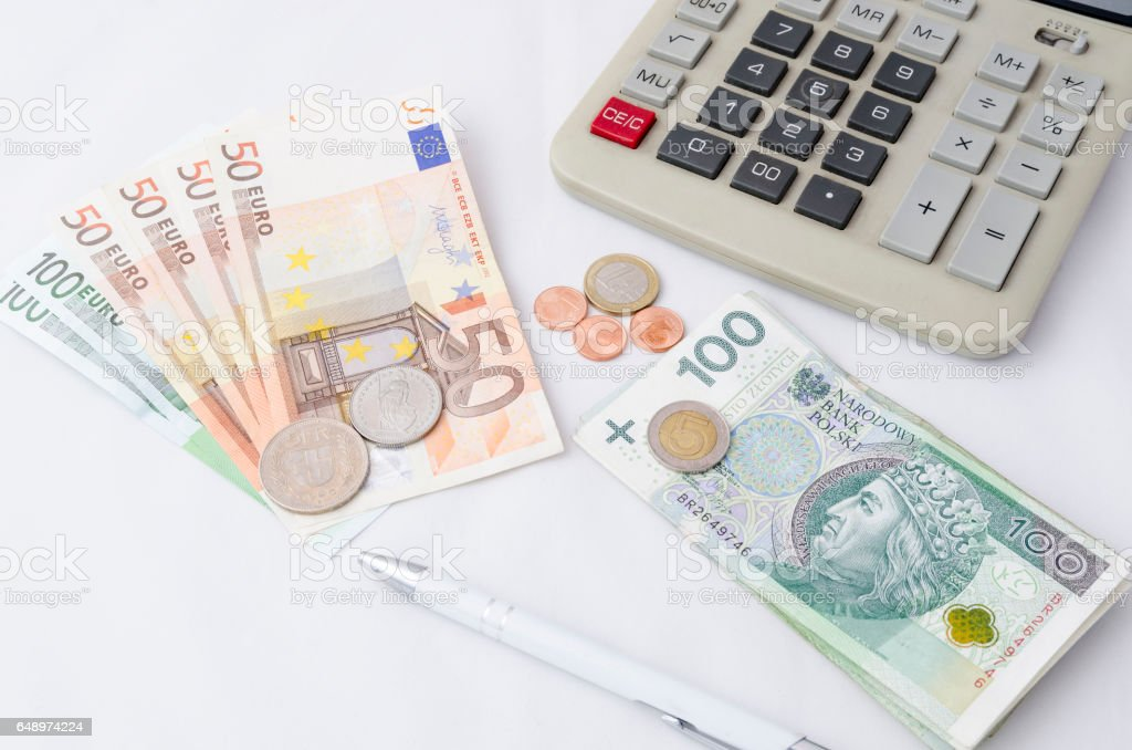 euro, polish zloty, suisse franc stock photo