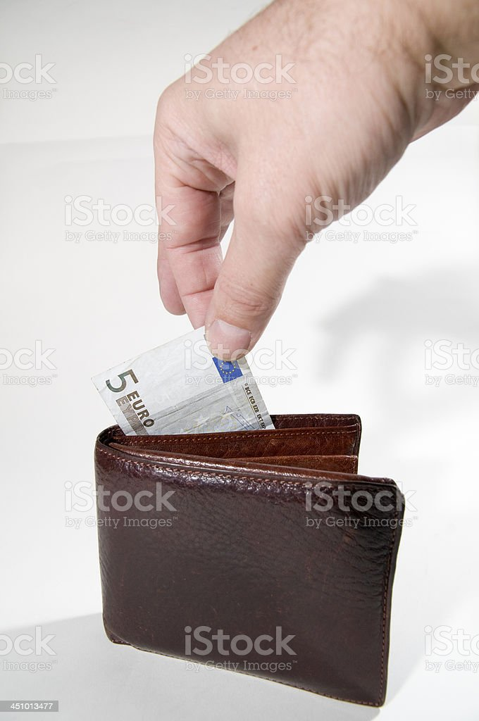 Euro purse and hand stock photo