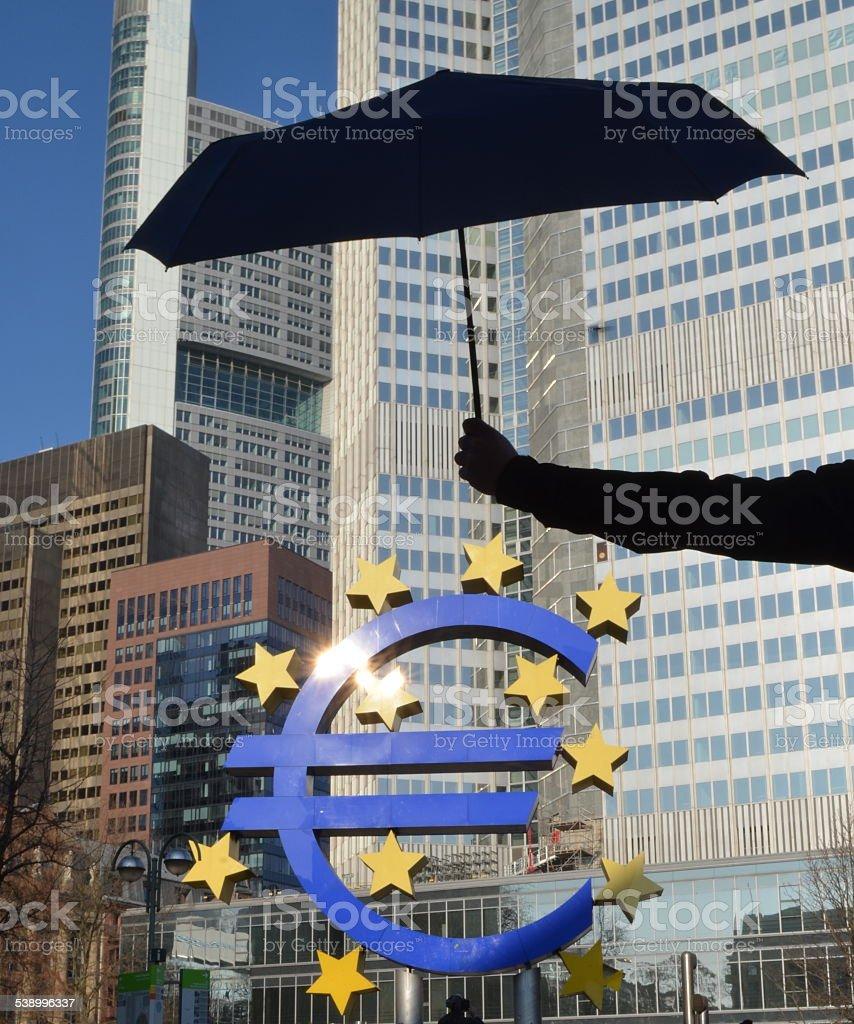 Euro Rescue Parachute - European Central Bank stock photo