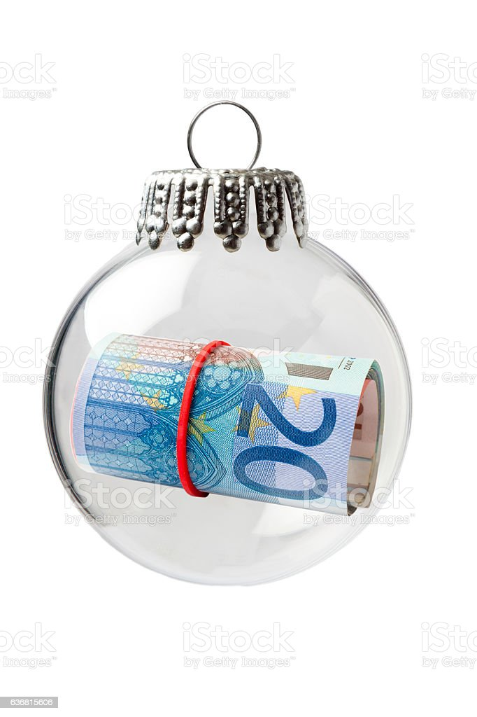 Euro Rolled Up in a Christmas Ornament stock photo