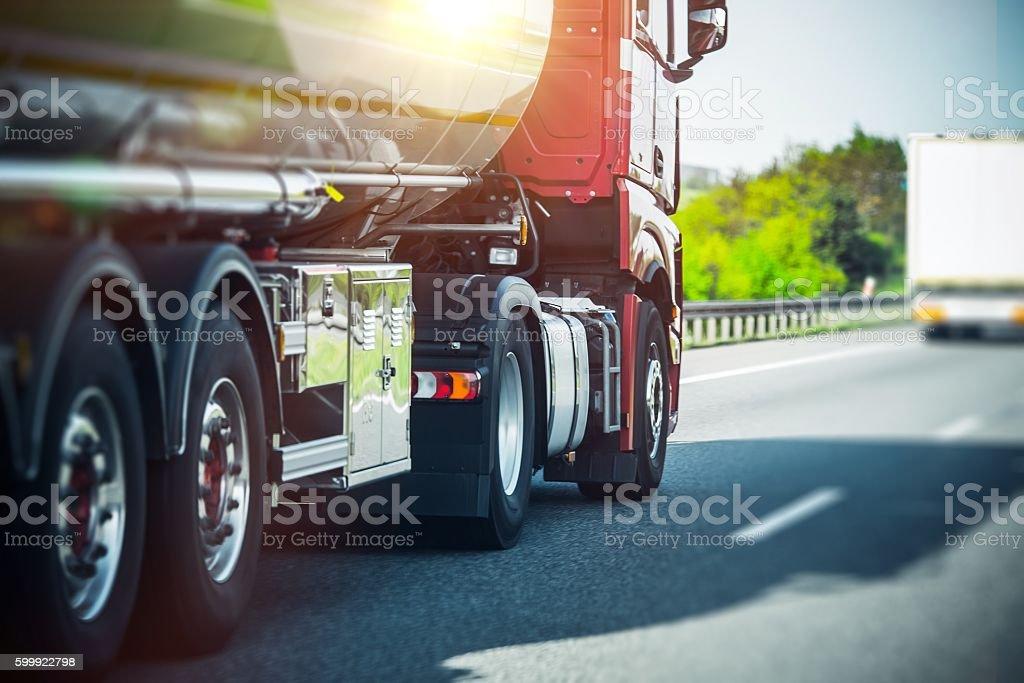 Euro Semi Truck on Highway stock photo