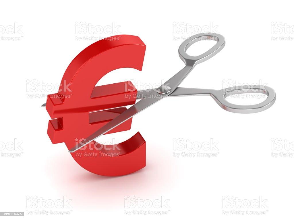 Euro Sign and Scissors stock photo
