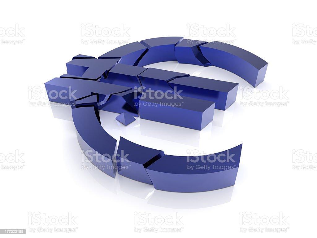 Euro Sign Broken stock photo