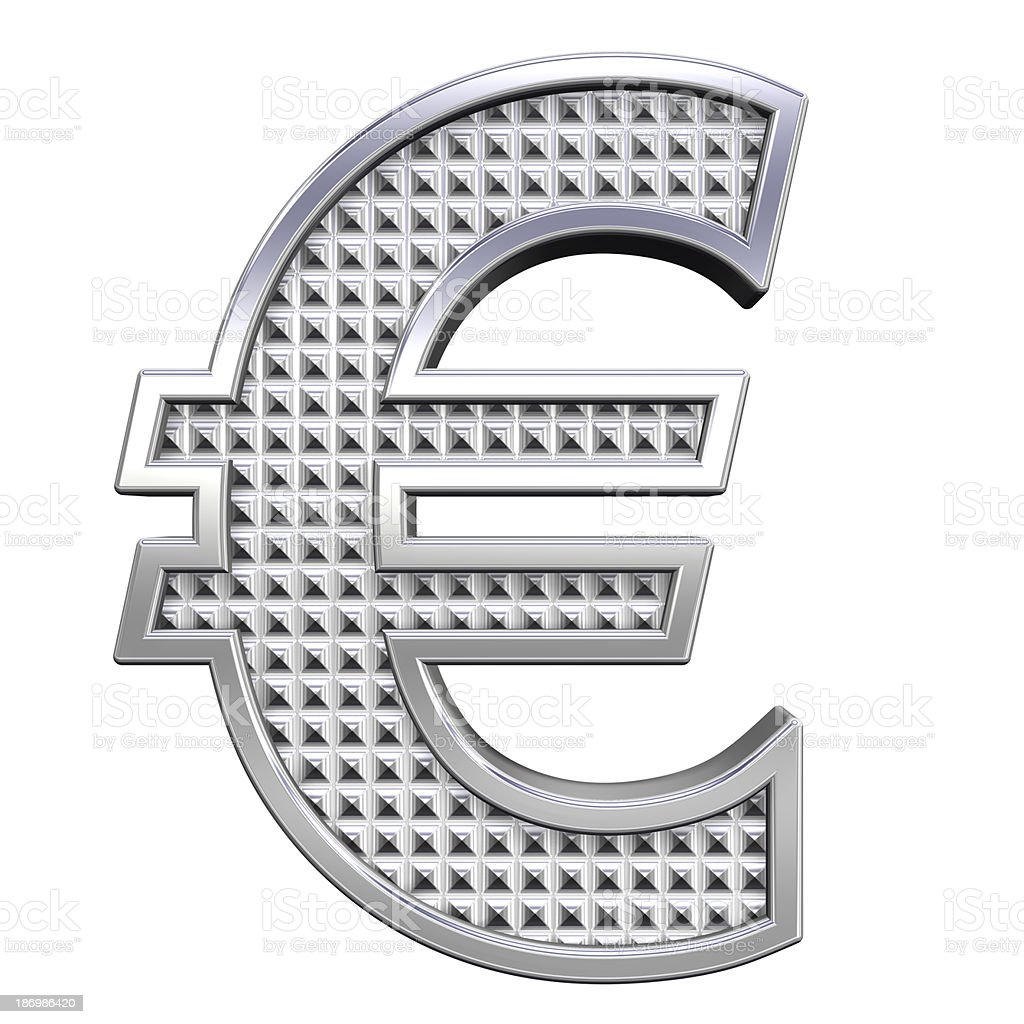 Euro sign from knurled chrome alphabet set royalty-free stock photo