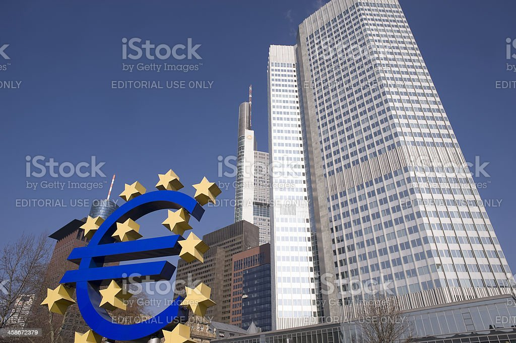 Euro sign in front of the ECB royalty-free stock photo